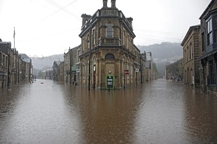 Terrible flooding in Hebden Bridge in West Yorkshire