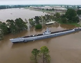 Flooding in Oklahoma has caused the historic World War II submarine USS Batfish to refloat once again nearly 50 years after it was dry docked in a park along the Arkansas River.