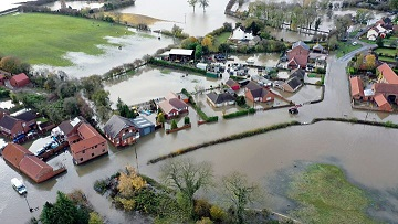 Disastrous flooding in the village of Fishlake near Doncaster